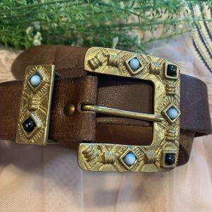 Vintage VTG Leather Brass Embellished Belt Small
